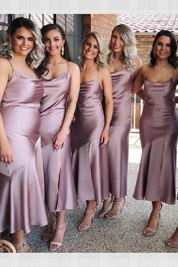 Outstanding 2019 Bridesmaid Dresses Sheath Spaghetti Straps Lilac Satin Bridesmaid Dress With Split