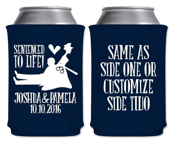 """Wedding Can Coolers Beverage Insulators Koozies Personalized Wedding Favors - Sentenced To Life Coozies by """"ThatWedShop"""" on Etsy 