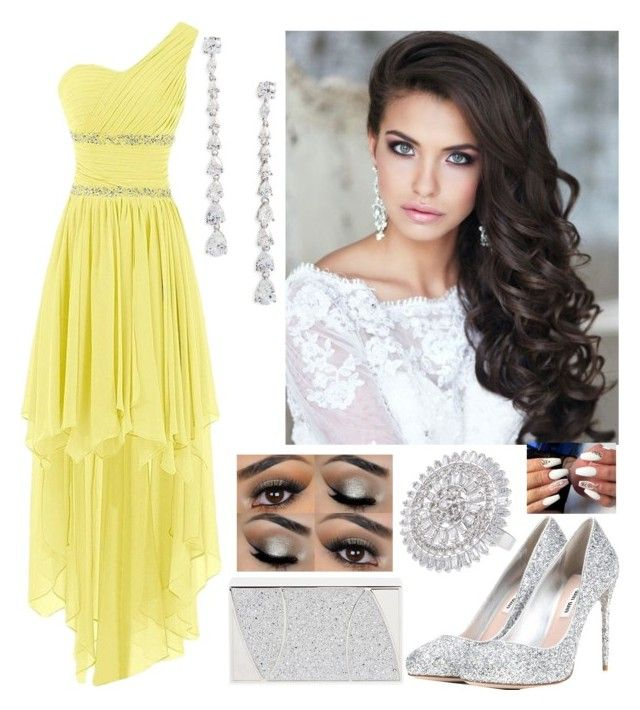 """Yellow perfection"" by paoladouka on Polyvore featuring Nina, CZ by Kenneth Jay Lane, Miu Miu and Khirma Eliazov"