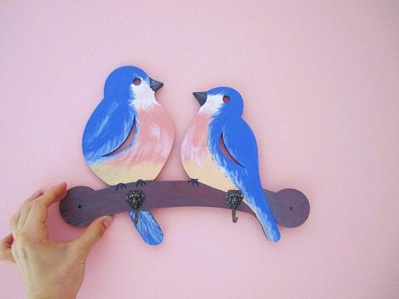 Rustic wood hand painted birds wall coat hanger rack by GattyGatty, $42.00