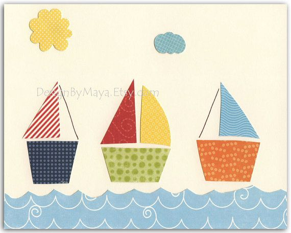 Nursery wall art, Baby room print, Nursery Decor, Art for Kids Room...sea..3 boats, match to the colors of baby boats nursery bedding