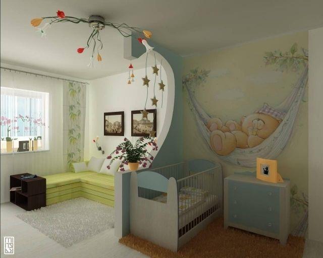 babyzimmer farben ideen jungd mädchen wandmalerei bärchen ... - Babyzimmer Ideen