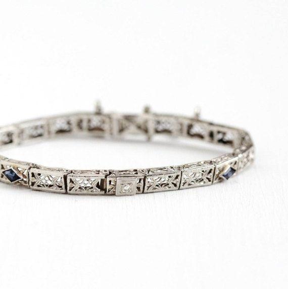 Sale - Antique 14k White Gold Diamond Simulated Sapphire Filigree Panel Bracelet - Vintage 1920s Art Deco Blue Flower Fine Bridal Jewelry