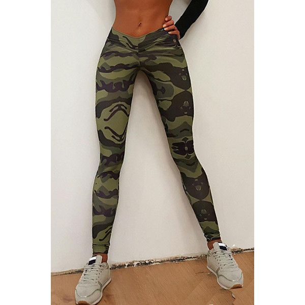 Yoins Camouflage Pattern Bodycon Leggings (£11) ❤ liked on Polyvore featuring pants, leggings, black, camoflauge pants, sport pants, camo print leggings, sports pants and bodycon leggings