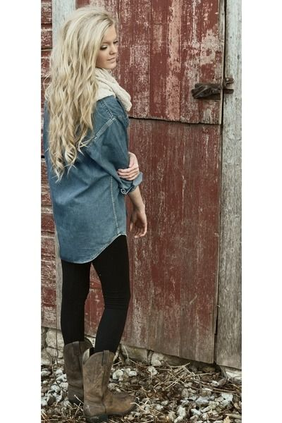 Cowboy-boots-black-leggings-denim-shirt.  I think I will try this with my cowboy boots <3