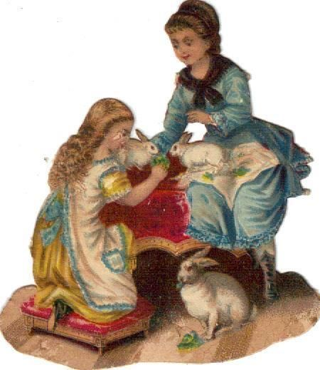 Victorian Die Cut Scrap Mom & Daughter w Bunnies c1880