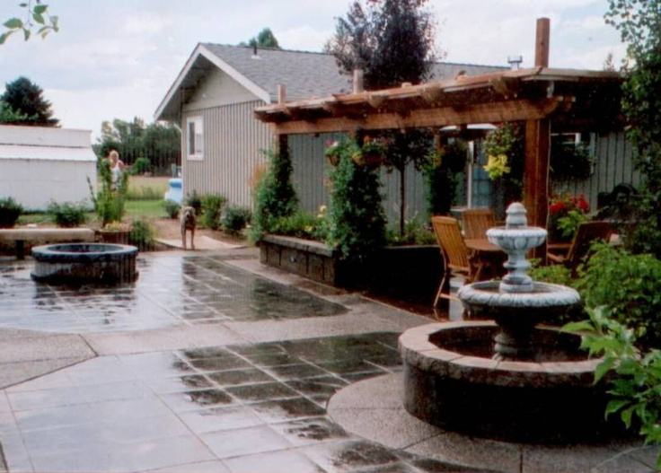 Awesome Our Patio In Itu0027s Younger Stages. Stamped,stained Concrete With Exposed  Aggregate Along The