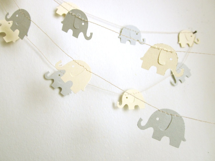 Paper Garland - Gray and Cream Elephants. $9.00, via Etsy.