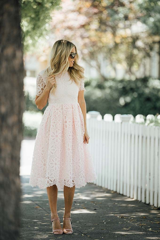 Erika from Whiskey & Lace | Simple spring outfit idea - a cute pink sundress with sandals and sunnies.