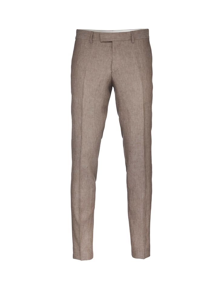 """Men's slim-fit trousers in linen structure. Featuring low rise and slim legs. </br></br>For a complete suit look wear it with <a href=""""http://tigerofsweden.com/se/blazers/lamonte-4-blazer-T61266014.html"""" style=""""font-weight:bold; text-decoration: underline;"""" target=""""_blank"""">Lamonte blazer</a>"""