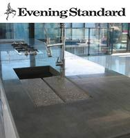 Bespoke polished concrete kitchen island, small shelf and bathroom hand wash basin
