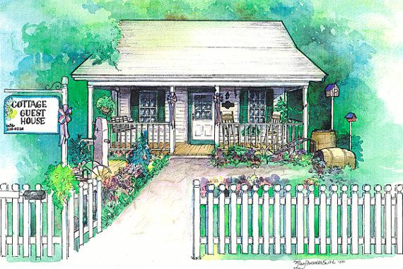 Custom painting of local bed and breakfast, by maryfrancessmith $200