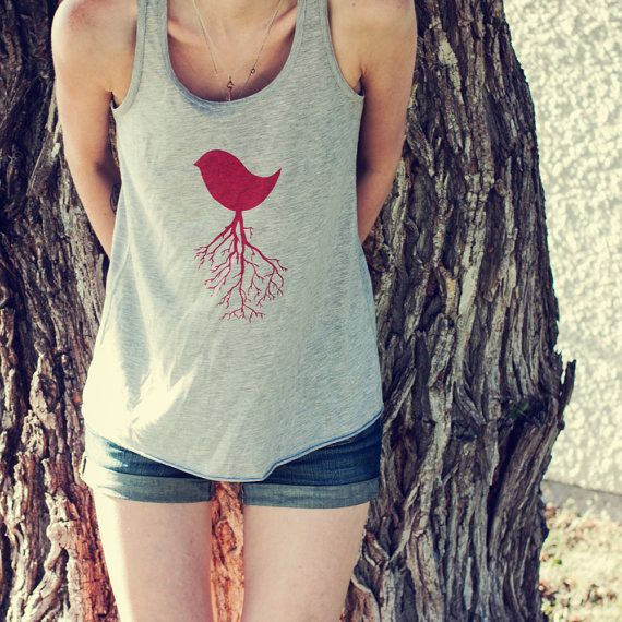 Bird Tree Branches Screen Printed Women's Athletic by pixelandtwig