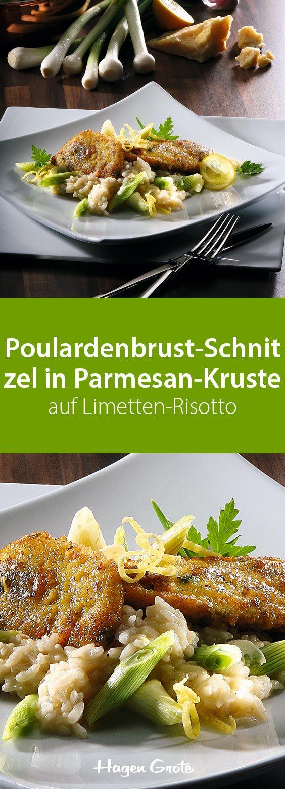 Poulardenbrust-Schnitzel in Parmesan-Kruste auf Limetten-Risotto