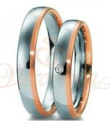 Βέρες γάμου δίχρωμες με διαμάντι Breuning 4071-4072