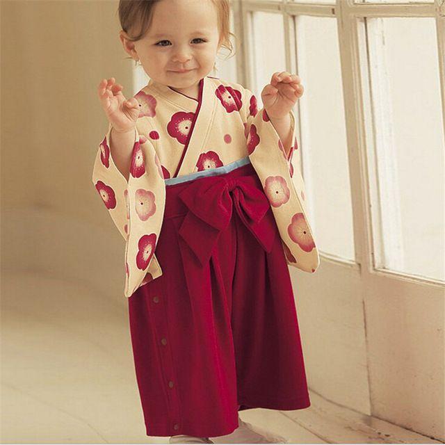 Inverno Impressão de Algodão Recém-estilo Japonês Kimono Bonito Macacão de Bebê Infantil Bebes Macacão de manga Longa roupas de Bebê para recém-nascidos