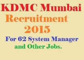 KDMC Mumbai Recruitment 2015