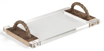 Jackson Reclaimed Wood Modern Rustic Acrylic Serving Board Tray - transitional - Serving Trays - Kathy Kuo Home