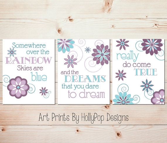 Baby Girl Nursery Decor-Purple Teal Girls Room Wall Art-Somewhere Over the Rainbow-Set of 3 Prints-Nursery Trio-Inspirational Song Lyrics