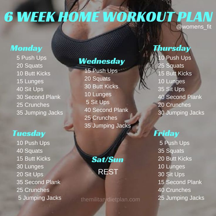 Awesome workout plans for beginners. No gym or equipment needed! http://themilitarydietplan.com/6-week-no-gym-home-workout-plan/