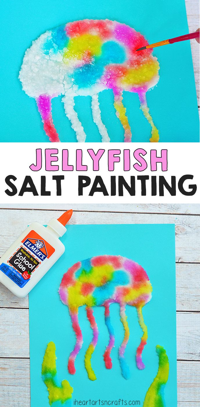 Create these colorful Jellyfish Salt Painting's with Elmer's School Glue! #AD