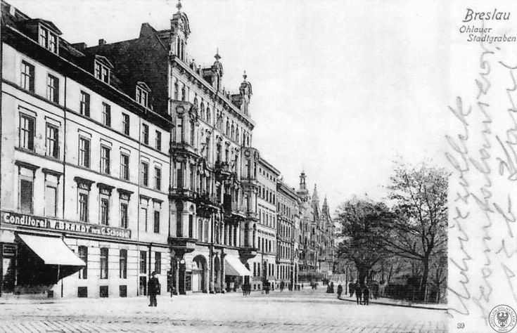 odwale /Ohlauer Stadtgraben/, widok z Traugutta w stronę Komuny Paryskiej. Dwa (trzy?) pierwsze budynki z lewej nie istnieją, dalej konsulatLata 1900-1920