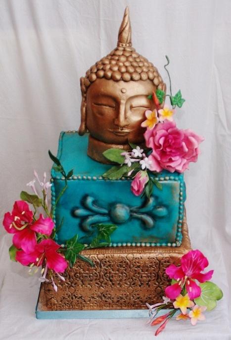 buddha cake with handmade gumpaste flowers