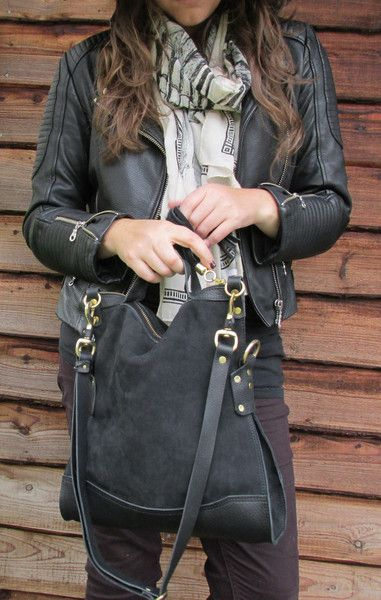 Delilah  Crossbody  Bag - Black Suede/Leather