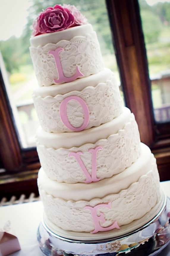 Love and Lace Wedding Cake