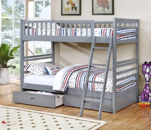 GREY TWIN OVER TWIN SOLID WOOD BUNK BED #grey #bunkbed #bunkbeds #kid #bedroom #bed #kidsbedroom #boy #furniture #bedroomfurniture