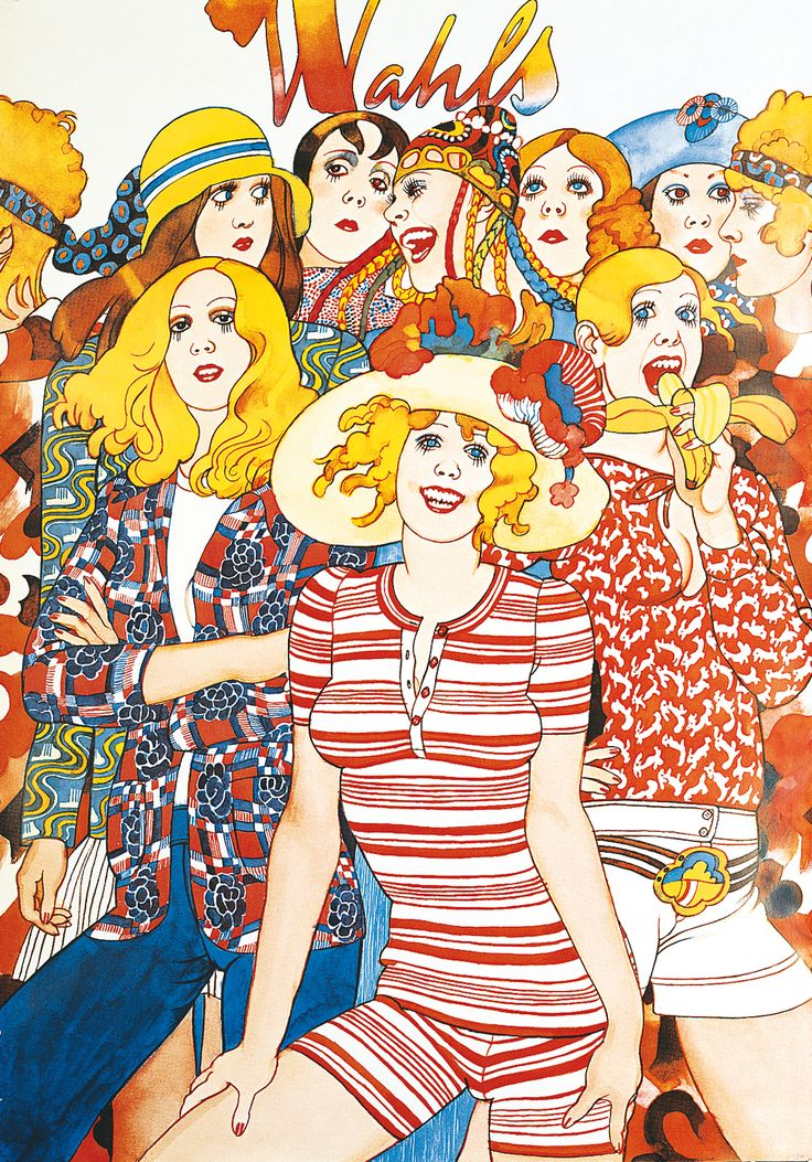 Wahls, a clothing company in Sweden during the seventies and eighties. Illustration the well known Jane Bark.
