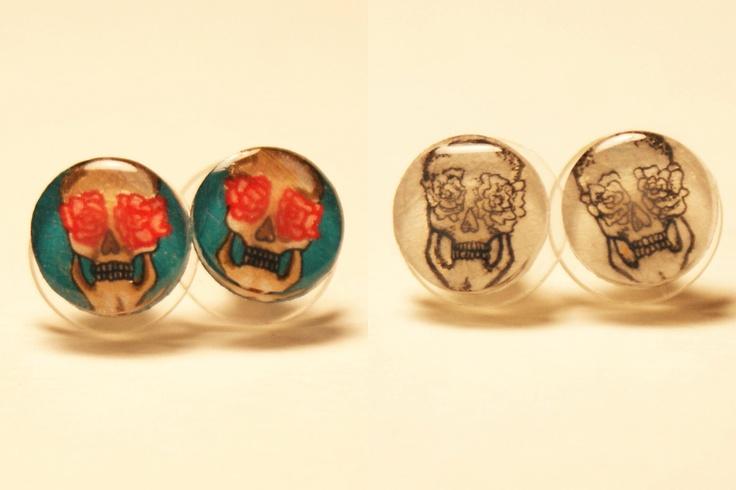 Small Flower Skull Pair of Stud Earrings. $10.00, via Etsy.