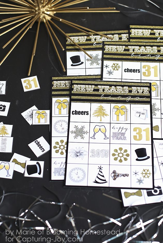 New Years Eve Bingo Game Printable, the perfect way to ring in the new year! Capturing-Joy.com