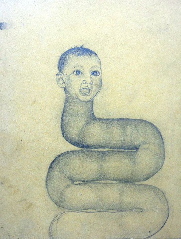 "Artista: Ricardo Muñoz Izquierdo, Dibujo 15 de la Intervención ""Caldo de Ojo"", Pintura sobre MDF, 17,7 x 14,3 cm, 2012-2014 + PA  Artist: Ricardo Muñoz izquierdo, Drawing 15 from the Intervention ""Eye Soup"", Paint on MDF, 17,7 x 14,3 cm + PA"