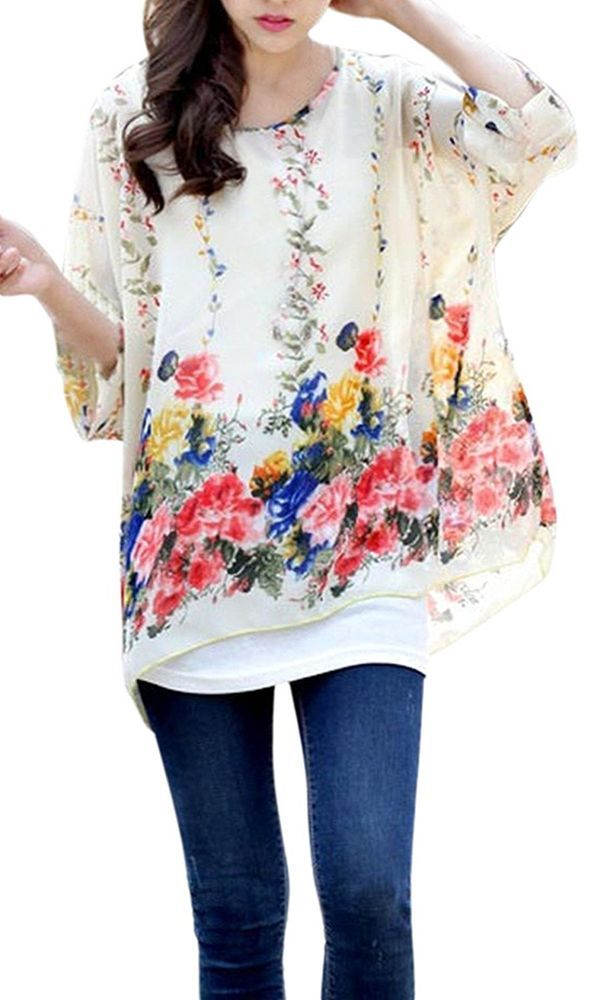 New Women's Summer Floral Batwing Beach Loose Blouse Chiffon Top Shirt US, Beige #AMCLOTHES #Blouse #Casual