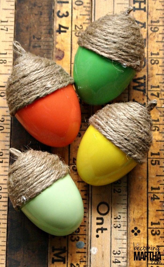 Turn plastic Easter eggs into acorn fall decor. Brilliant!