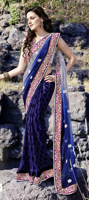 128607, Party Wear Sarees, Brasso, Faux Georgette, Stone, Border, Blue Color Family