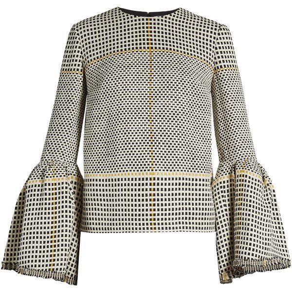 Roksanda Truffaut bell-sleeved basket-weave top ($1,149) ❤ liked on Polyvore featuring tops, roksanda, sweaters, black white, flared sleeve top, slimming tops, bell sleeve tops, roksanda top and black and white top