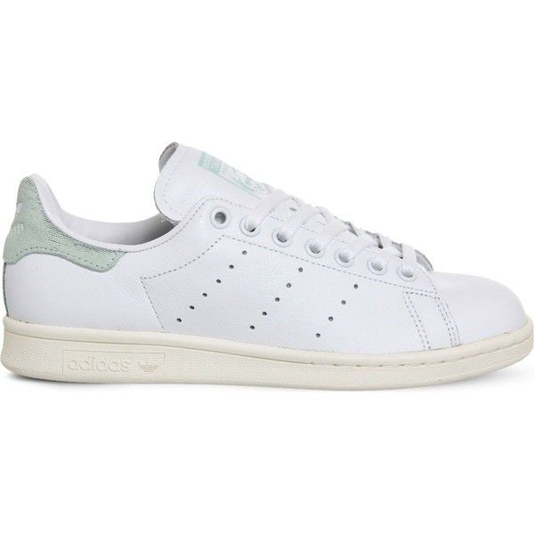 Adidas Stan Smith leather trainers (£70) ❤ liked on Polyvore featuring shoes, sneakers, white leather shoes, tennis trainer, tennis sneakers, white tennis sneakers and white sneakers
