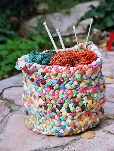 Cut your plastic bags into strips and weave them into a funky storage basket