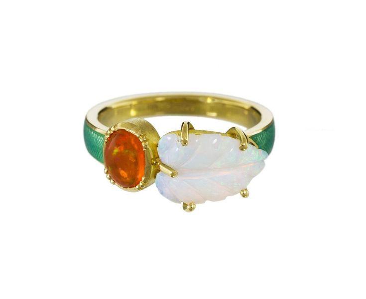 Maya Opal Leaf and Fire Opal Ring
