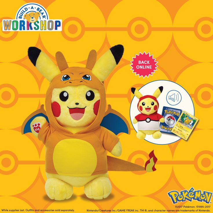 Make-Your-Own Pikachu is available online and in stores! Each one comes with a Build-A-Bear Workshop Exclusive Pokémon Trading Card Game card!