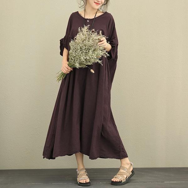 Women Retro Loose Lantern Sleeve Purple Dress