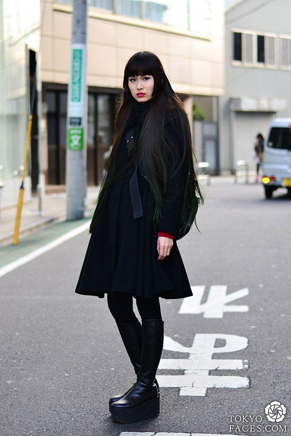 japanese girl street fashion at Tokyofaces.com * Black Swan * Name: Beniko Coat: Atelier Pierrot Shoes: Tokyo Bopper Bag: Jean Paul Gaultier