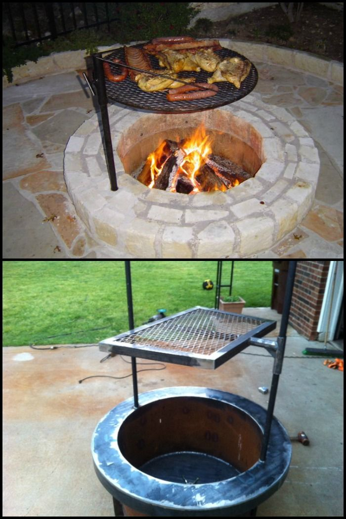 A fire pit during the winter and a grill during the summer – this project is perfect for those with limited backyard space!