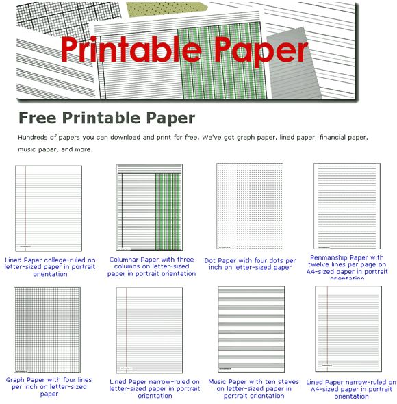 Free Printable Paper - hundreds and hundreds, 830 to be exact, of all types, styles, designs...from notebook paper, to graph paper to budgets, planners, and game sheets, and so much more.