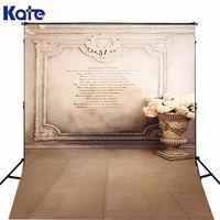 Kate Custom Made Background Fundo Stone Vase Wall Brick Wall Retro Flowers For Children Backgrounds Lk 2662