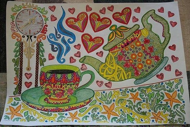 Another finished coloring page by one of our friends. Love how it conveys happiness!!