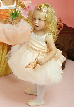Bola vestidos de niña sin tirantes de la rodilla-longitud de organza de raso
