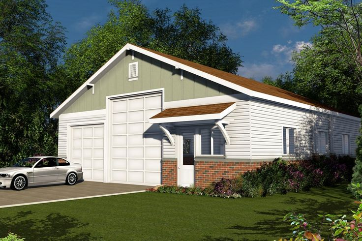Garage Plan Front Exterior Workshop